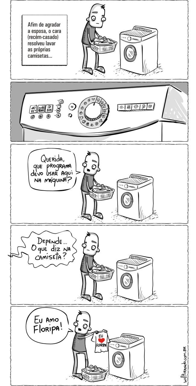 Olha que acontece quando um homem vai lavar roupa!